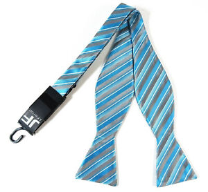 Blue-and-Silver-Striped-Bow-Tie
