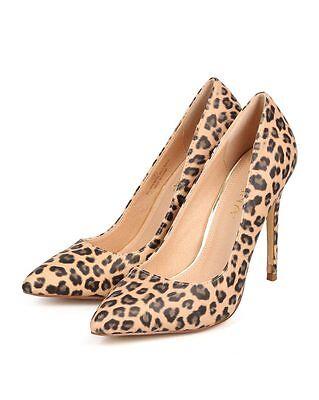 New Women Liliana Gisele-1 Leopard Leatherette Pointy Toe Stiletto Pump Size