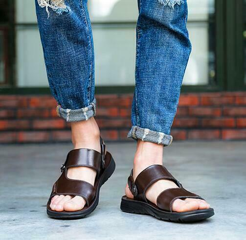 New  Mens real leather Flats Open Toe Slip On casual Sand Sandals shoes