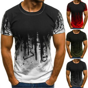 Mens-T-Shirt-Slim-Fit-Casual-T-shirt-Tops-Summer-Clothes-Bodybuilding-Muscle-Tee