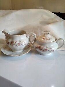 Favolina-Made-In-Poland-Creamer-W-Saucer-and-Sugar-Bowl