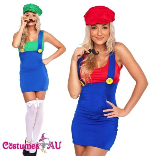 gloves Ladies Super Mario Luigi Brothers Plumber Fancy Dress Up Party Costume