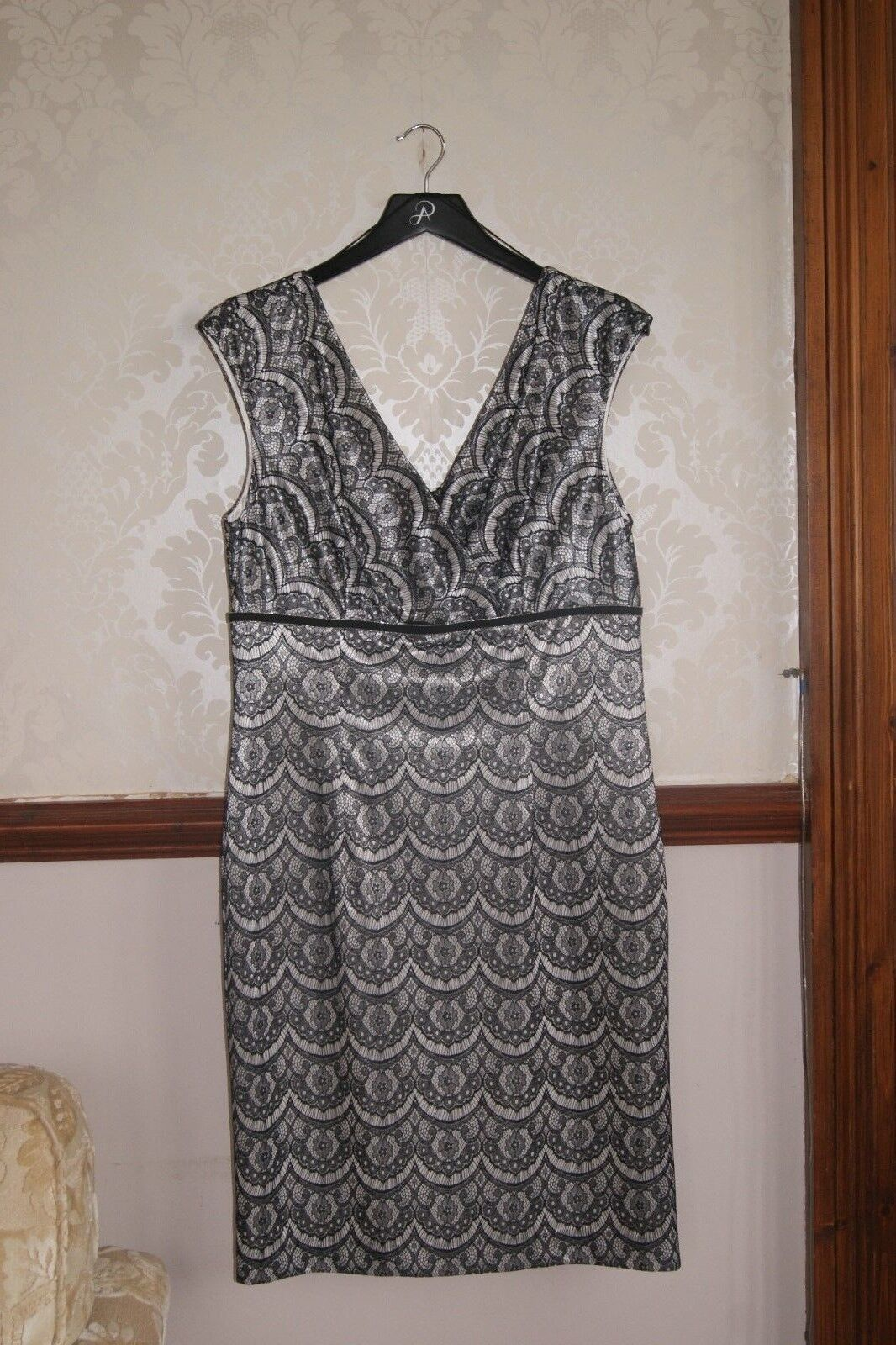 Adrianna Papell Pretty Lace Print Dress Races Wedding Party BNWT 14 16