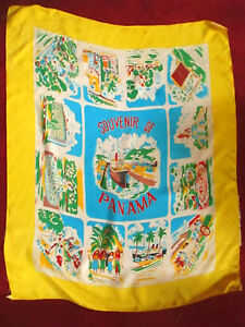True-Vtg-50s-60s-PANAMA-CANAL-SOUVENIR-RAYON-COLORFUL-HUGE-scarf-36x28-034