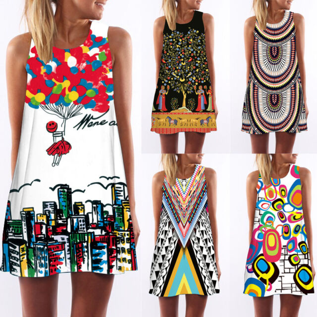 Summer Women Sleeveless Bodycon Casual Party Evening Cocktail Short Mini Dress #