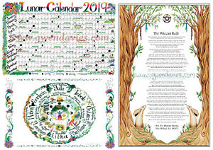 Pagan Calendar.Details About A3 Large 2019 Lunar Calendar Wiccan Rede And Wheel Of The Year Pagan Poster Set