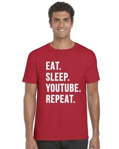 Eat-Sleep-YouTube-Repeat-Funny-YouTuber-Kids-T-Shirt-Tee-Top