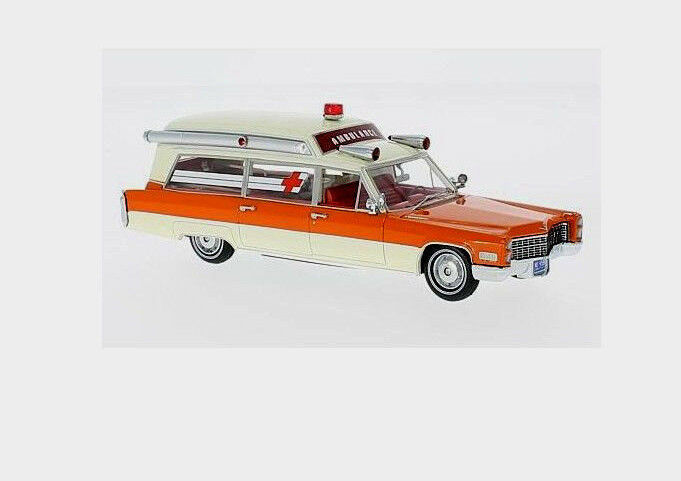 Wonderful modelcar CADILLAC S&S HIGH TOP AMBULANCE 1966 - orange - 1 43 - ltd.ed