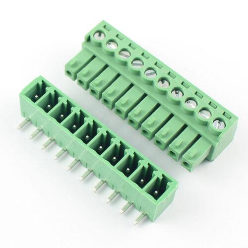 50Pcs 3.5 mm 10 Pin Forma ángulo Recto Conector Enchufable de bloque de terminal de tornillo