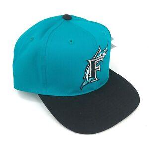 Vintage-Florida-Marlins-Outdoor-Cap-Co-Youth-Talla-Gorra-Plana-Negro-Teal-Logo