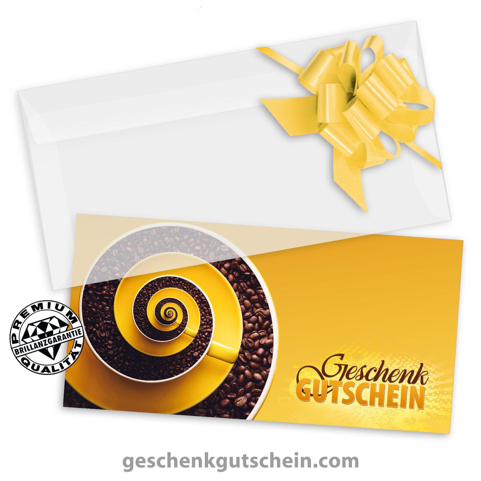 Gutscheinkarten  DINlang  + KuGrüns + Schleifen für Kaffeehäuser Cafés G92005