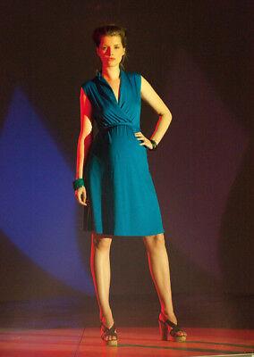 Fragile Maternity Aqua Shawl Collar Dress Hochglanzpoliert