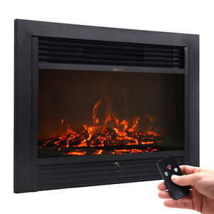 28 5 Fireplace Electric Embedded Insert Heater Glass View Log Flame Remote Home