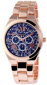 Excellanc-Damenuhr-Blau-Rosegold-Strass-Chrono-Look-Armbanduhr-X-1800052-008