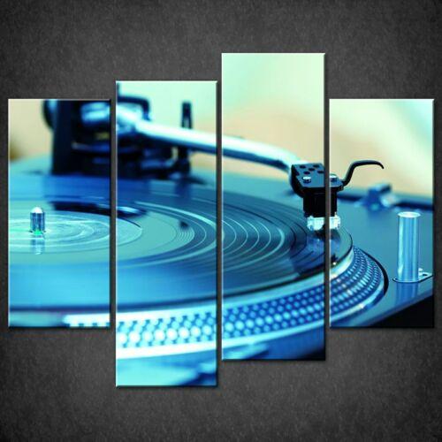 MUSIC BLUE DJ DECK RECORD PLAYER CASCADE CANVAS WALL ART PRINT READY TO HANG