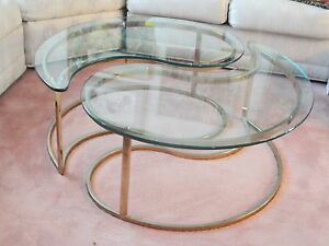 pair of 70s hollywood regency yin yang brass plated end table
