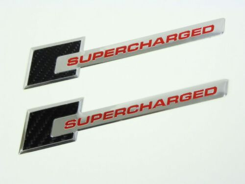 2 CARBON FIBER SUPERCHARGED SUPERCHARGER EMBLEMS RED