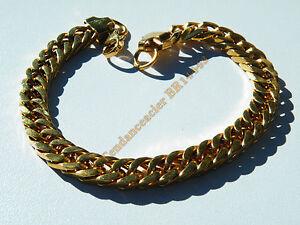 Bracelet-23-cm-Pur-Acier-Inoxydable-Dore-Plaque-Or-Maille-Gourmette-8-mm