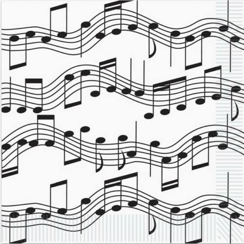 Musical Notes Beverage Napkins 16 Pack Music Dance 1950s Party Decoration