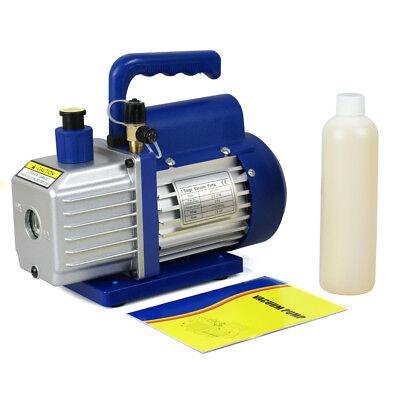 3,5CFM 1/4HP Rotary Vane Deep Vacuum Pump HVAC AC Air Tool R410a R134 W/Free Oil
