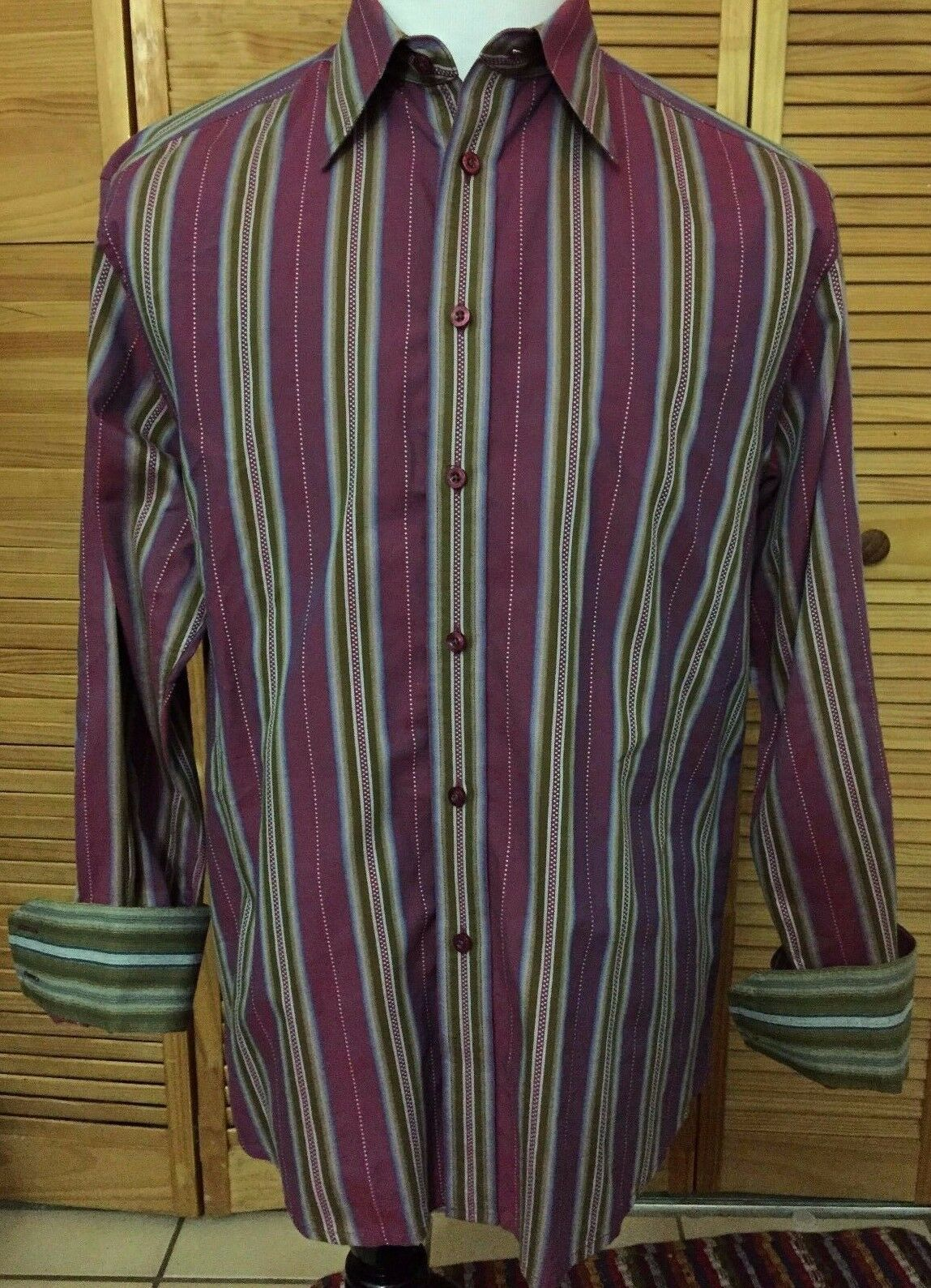Robert Graham Long Sleeve Dress Shirt Purple Green Striped Flip Cuff XL EUC