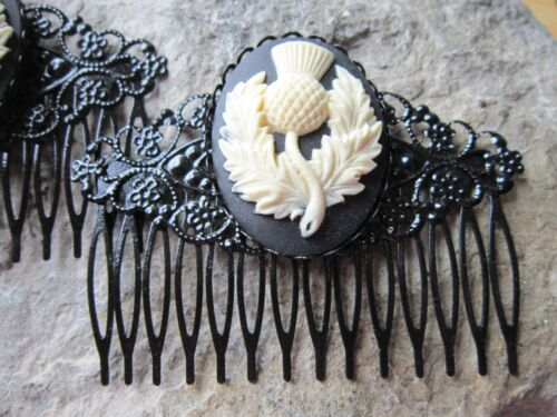 PAIR OF SCOTTISH THISTLE CAMEO BLACK FILIGREE HAIR COMBS SCOTLAND CELTIC