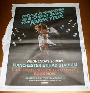 BRUCE SPRINGSTEEN RIVER TOUR MANCHESTER CITY ETIHAD 2016 local newspaper advert - <span itemprop=availableAtOrFrom>Macclesfield, United Kingdom</span> - BRUCE SPRINGSTEEN RIVER TOUR MANCHESTER CITY ETIHAD 2016 local newspaper advert - Macclesfield, United Kingdom