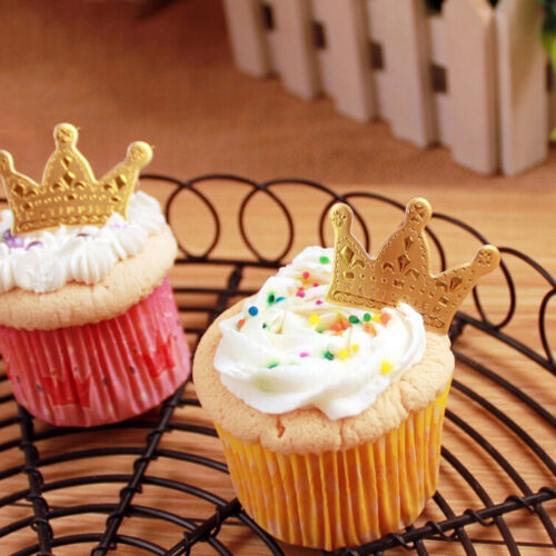 50pcs Gold Crown Cupcake Toppers Wedding Party Pics PV