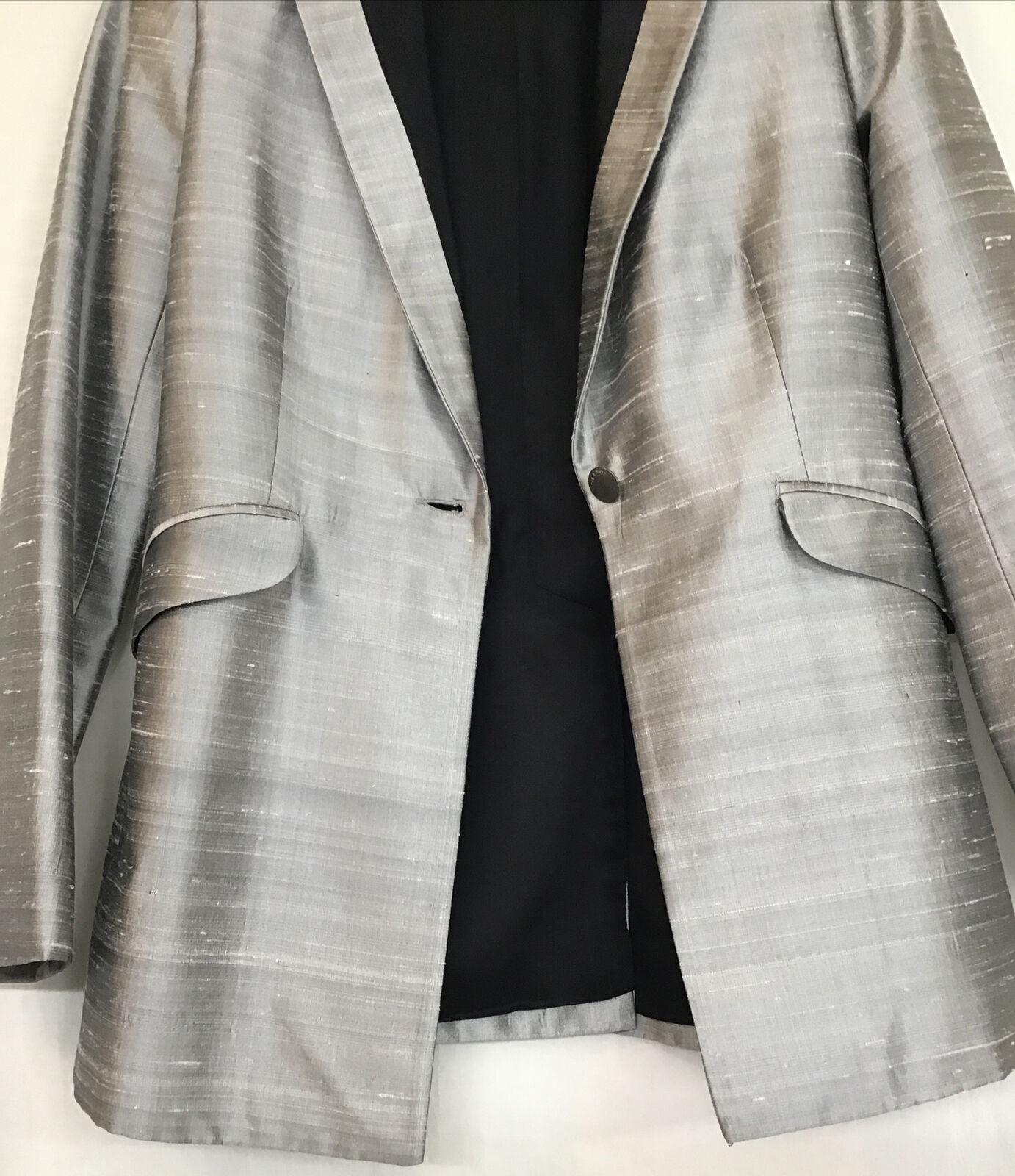 rag and bone  Suit Jacket silver gray silk peak s… - image 11