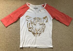 Girls-Mudd-Raglan-Sleeve-Tshirt-Salmon-Ivory-Gold-Tiger-EUC-10