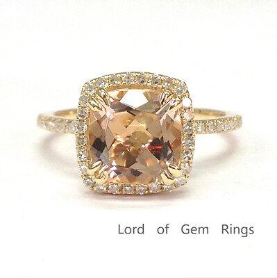 8mm Cushion Cut VS1 Morganite Engagement Ring Halo Pave Diamonds 14K Rose Gold