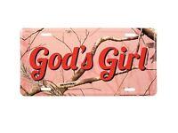 God's Girl Pink Realtree Camo License Plate Auto Tag Christian Gift