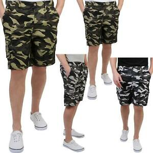Mens-Camo-Shorts-Cargo-Pockets-Casual-Combat-Army-Work-Cotton-Pants-Summer