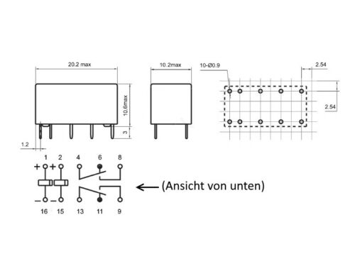 S009-60 Stück Miniatur Relais bistabil 2 Spulen 2xUM 2 Wechsler 2A 12V 9-24V