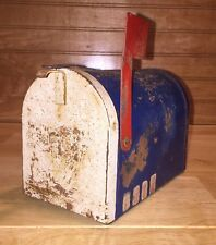 "Vintage USPS Metal Postal Mailbox Bank Blue White Red Flag Coin Slot 3 7/8"" USA"