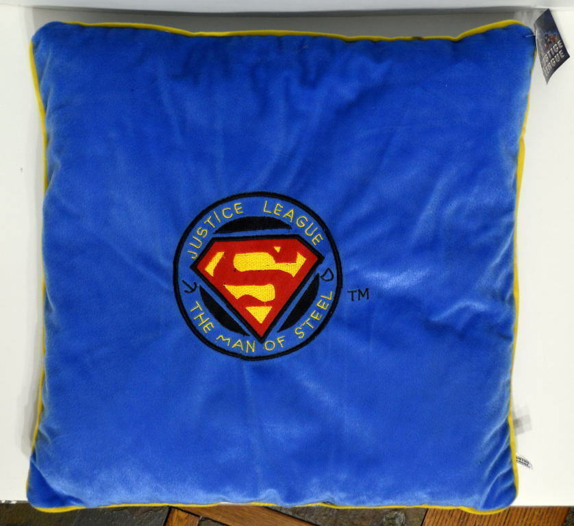 Justice League SUPERMAN Man Of Steel 18 x18  PLUSH PILLOW DC Toy Factory w TAGS