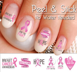Breast Cancer Awareness Nail Art Decal Stickers Pink Ribbon Rib913