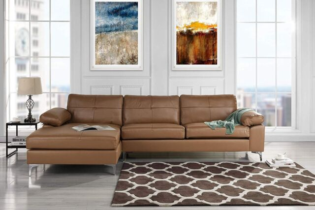 Modern Leather Sectional Sofa, L-Shape Couch w/ Chaise, Brown