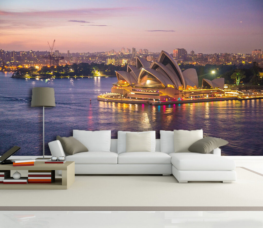 3D Sydney Theater Australia Wall Paper Print Decal Wall Deco Indoor wall Mural