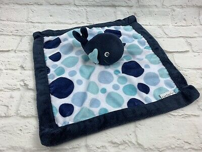 Carter/'s Baby Whale Lovey Security Blanket Navy Blue Polka Dots Plush velour