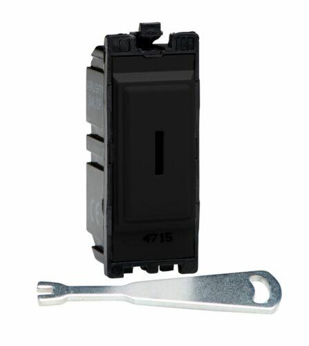 Varilight G201DKB Powergrid Module Noir 20 A 1-Way Double Pôle Interrupteur à clé