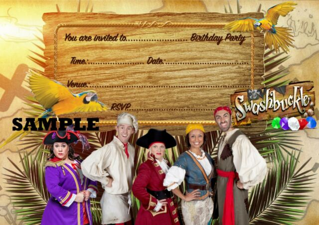 Envelopes Not Included SwashBuckle A5 Party Invitations on Glossy Paper x 20