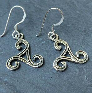 keltische Triskele Ohrringe 925 Sterling Silber Wikinger Schmuck Ohrhänger Neu