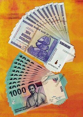 10 x 5 Billion Zimbabwe Dollars 10 x 1000 Indonesia Rupiah Banknotes Mixed Set