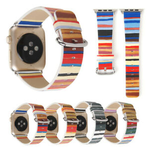 40-44mm-Colorful-Stripe-Leather-Band-Strap-for-Apple-Watch-6-5-4-3-2-1-iWatch-SE