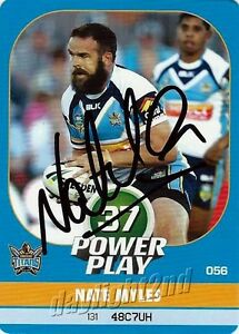 ✺Signed✺ 2015 GOLD COAST TITANS NRL Card NATE MYLES Power Play