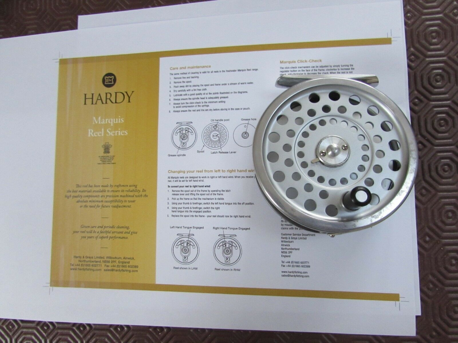 Very good original vintage Hardy Marquis no. 7 trout fly fishing reel