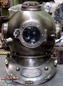 """Antique Morse US Navy Mark V Diving Divers Helmet Solid Steel Full Size 18"""" gift"""