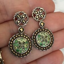 John Hardy 18k Yellow Gold Sterling Silver Emerald Peridot Drop Earrings NICE!