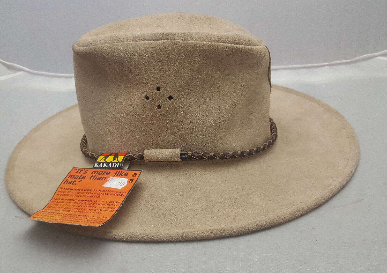 Kakadu Queenslander Suede Leather Hat Beige Size  Small (55cm) NEW  discount sales